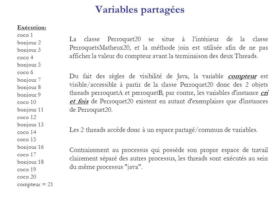 Variables partagées Exécution: coco 1. bonjour 2. bonjour 3. coco 4. bonjour 5. coco 6. bonjour 7.