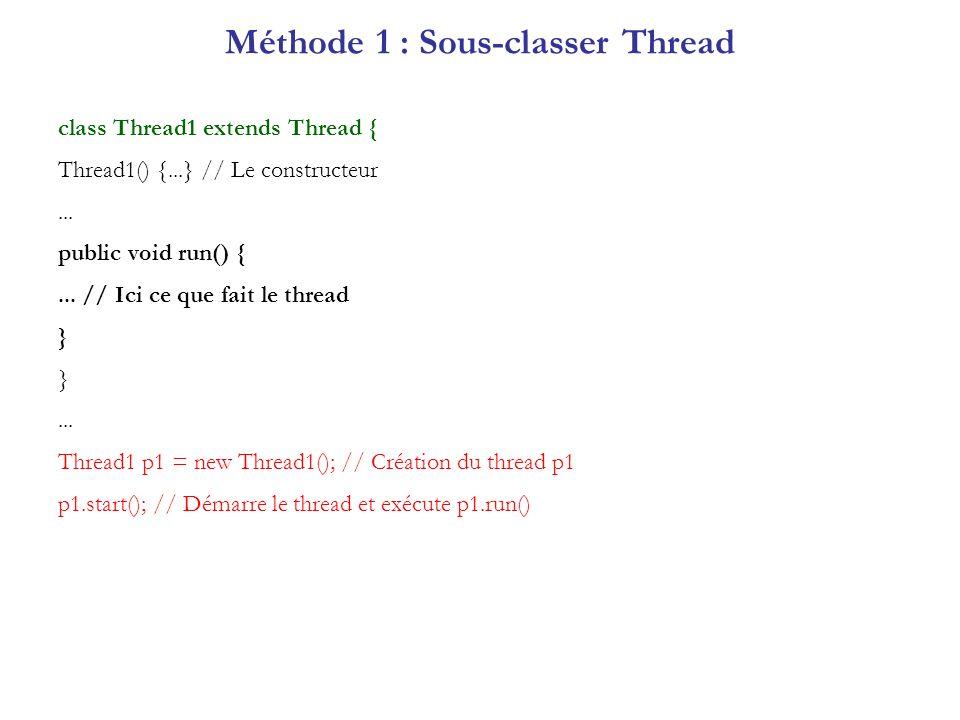 Méthode 1 : Sous-classer Thread
