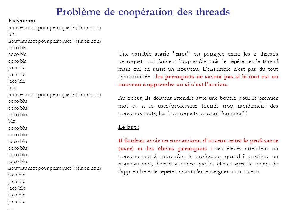 Problème de coopération des threads