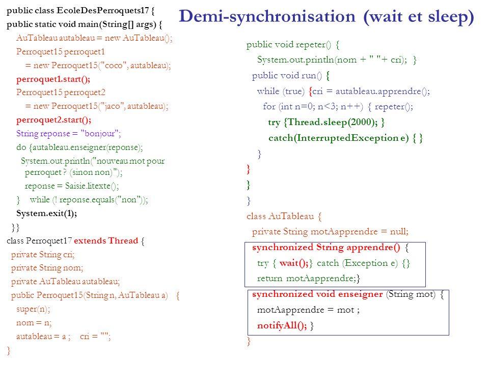 Demi-synchronisation (wait et sleep)