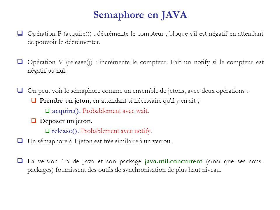 Semaphore en JAVA Opération P (acquire()) : décrémente le compteur ; bloque s il est négatif en attendant de pouvoir le décrémenter.