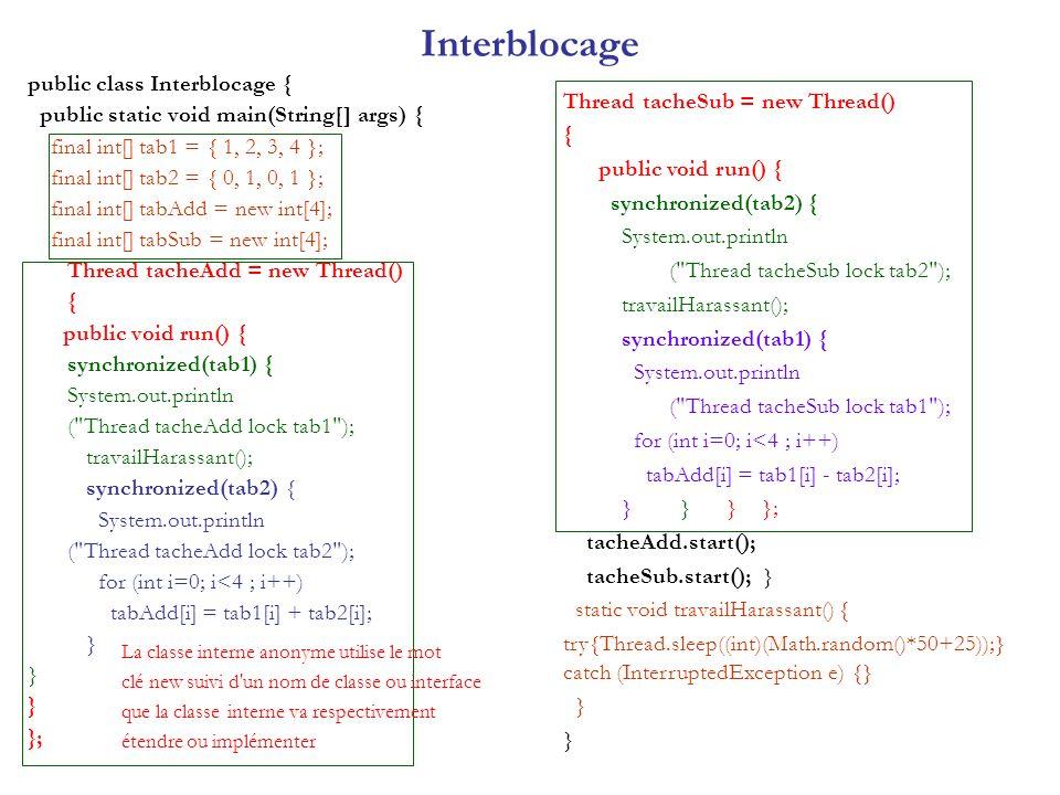 Interblocage public class Interblocage {