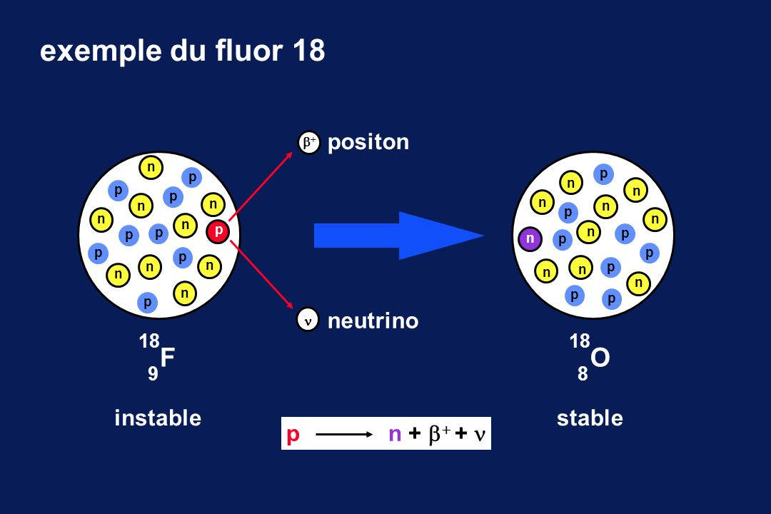 exemple du fluor 18 F O positon neutrino instable stable p n + + + 
