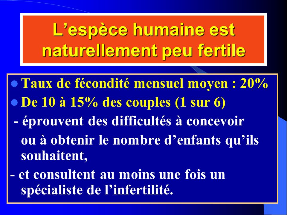 L'espèce humaine est naturellement peu fertile
