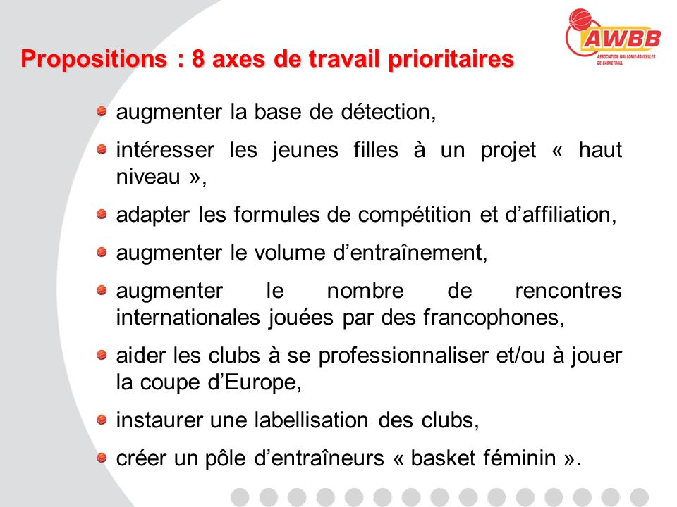 Propositions : 8 axes de travail prioritaires