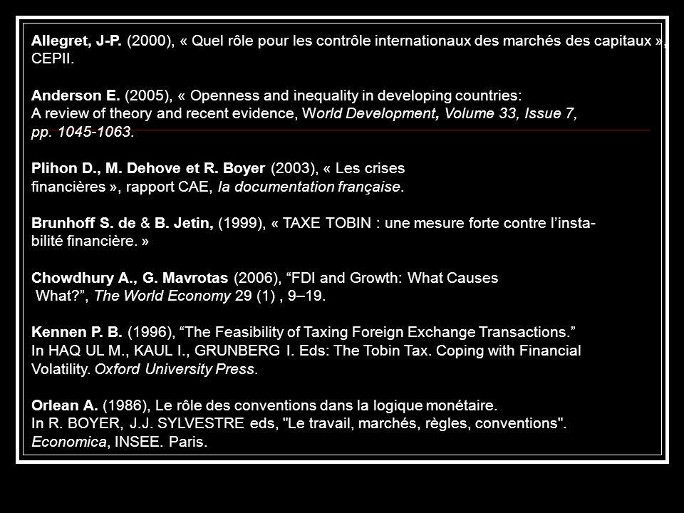 Allegret, J-P. (2000), « Quel rôle pour les contrôle internationaux des marchés des capitaux », CEPII.