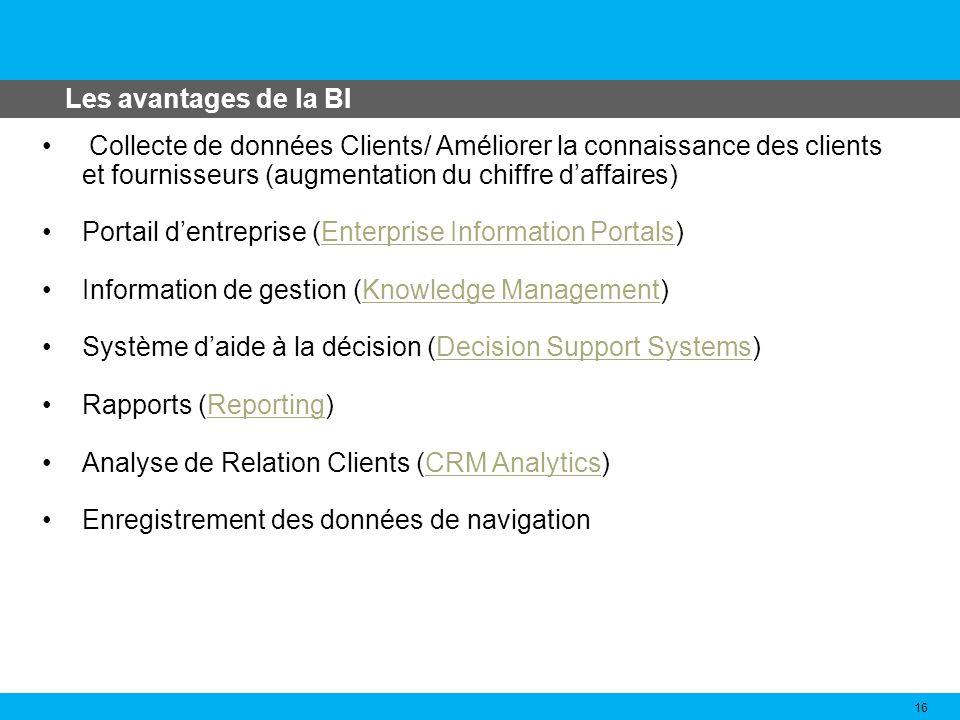 Les avantages de la BI Collecte de données Clients/ Améliorer la connaissance des clients et fournisseurs (augmentation du chiffre d'affaires)