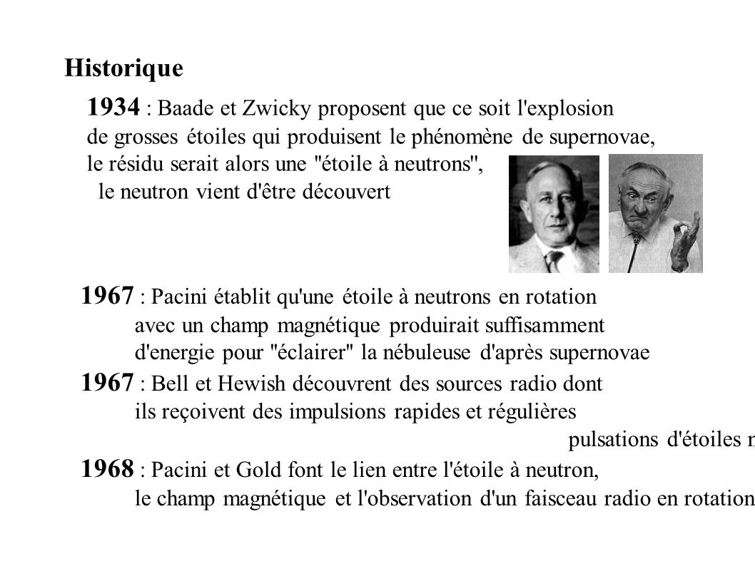 1934 : Baade et Zwicky proposent que ce soit l explosion
