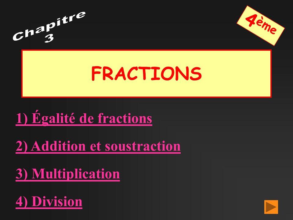4ème FRACTIONS Chapitre 3 1) Égalité de fractions