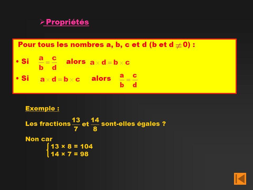 Propriétés Pour tous les nombres a, b, c et d (b et d 0) : Si alors