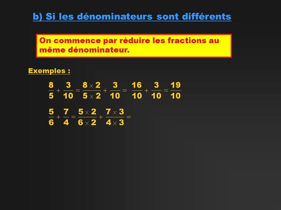 b) Si les dénominateurs sont différents