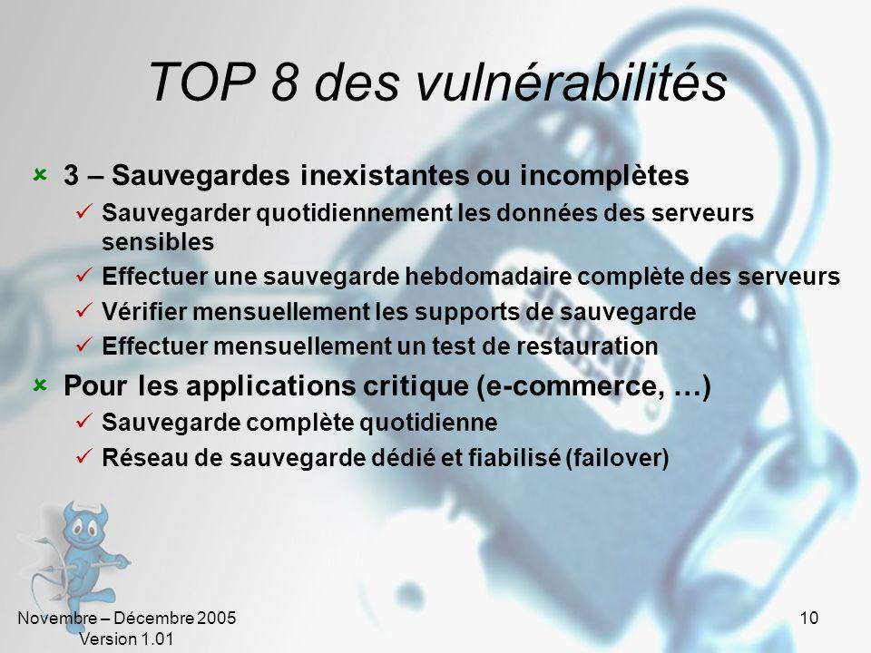 TOP 8 des vulnérabilités