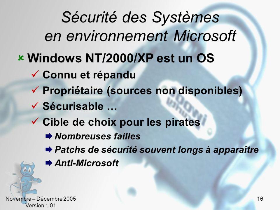 Sécurité des Systèmes en environnement Microsoft