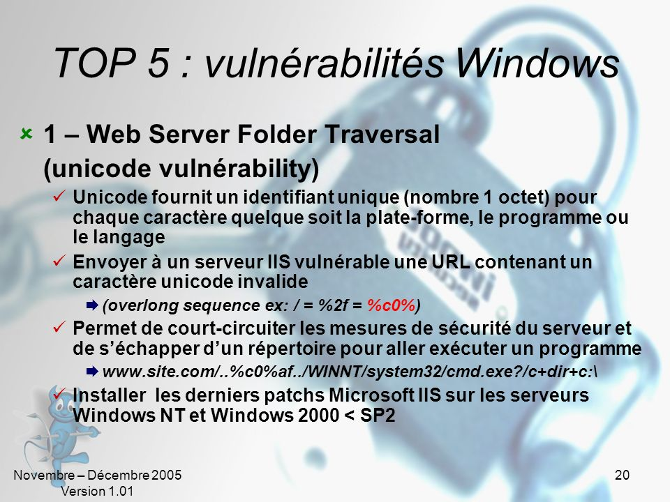 TOP 5 : vulnérabilités Windows