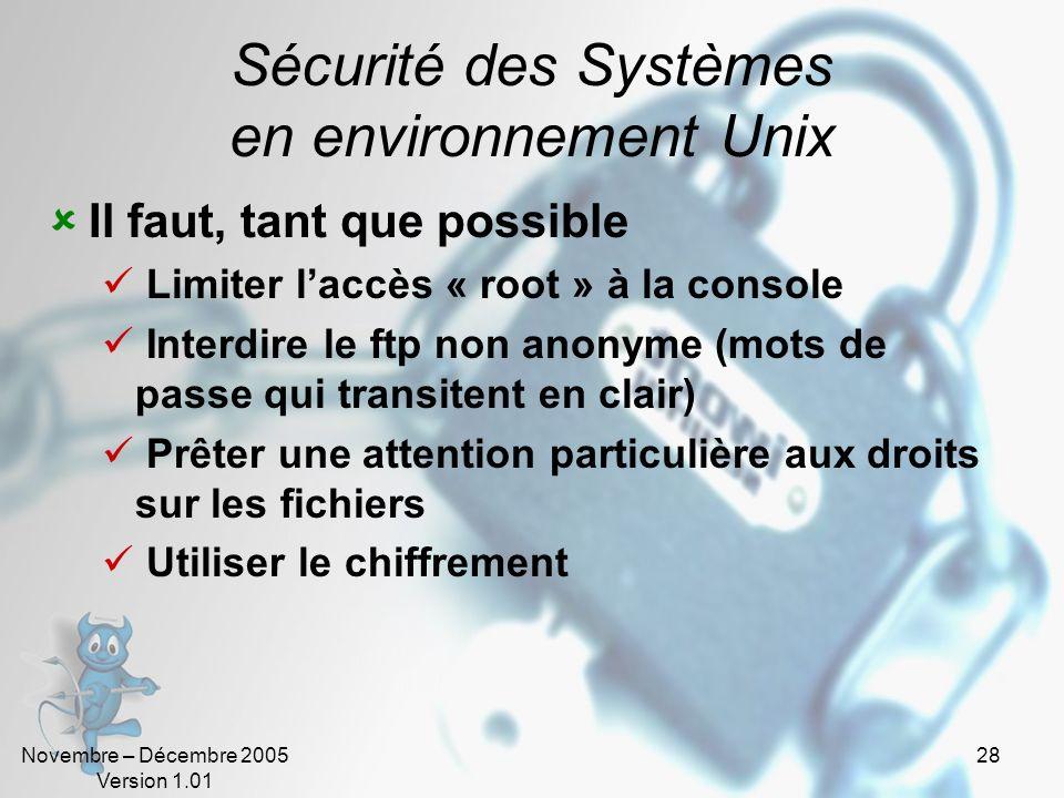 Sécurité des Systèmes en environnement Unix