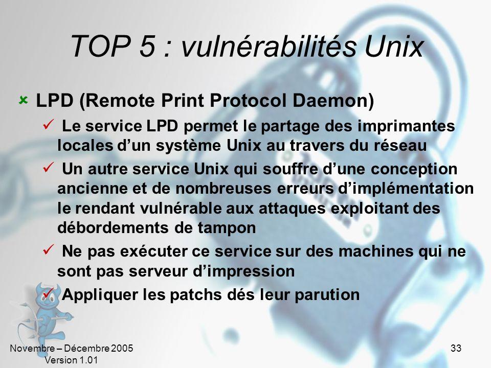 TOP 5 : vulnérabilités Unix