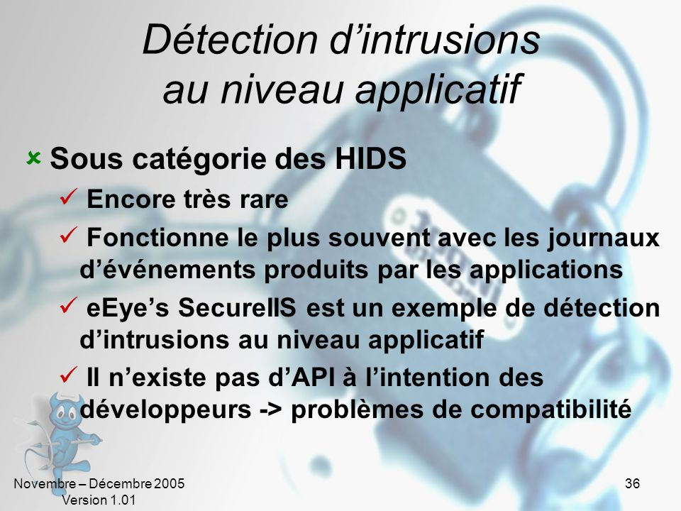 Détection d'intrusions au niveau applicatif