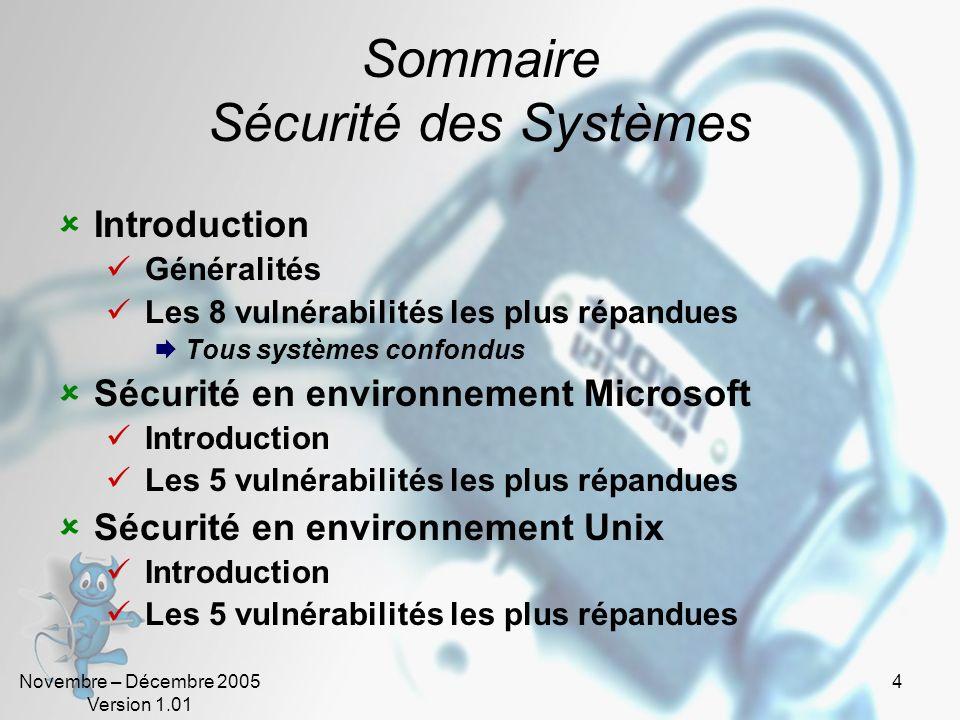 Sommaire Sécurité des Systèmes