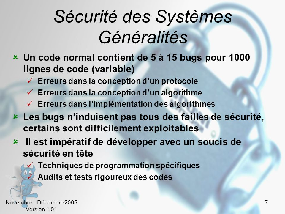 Sécurité des Systèmes Généralités