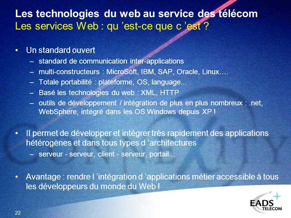 Les technologies du web au service des télécom Les services Web : qu 'est-ce que c 'est
