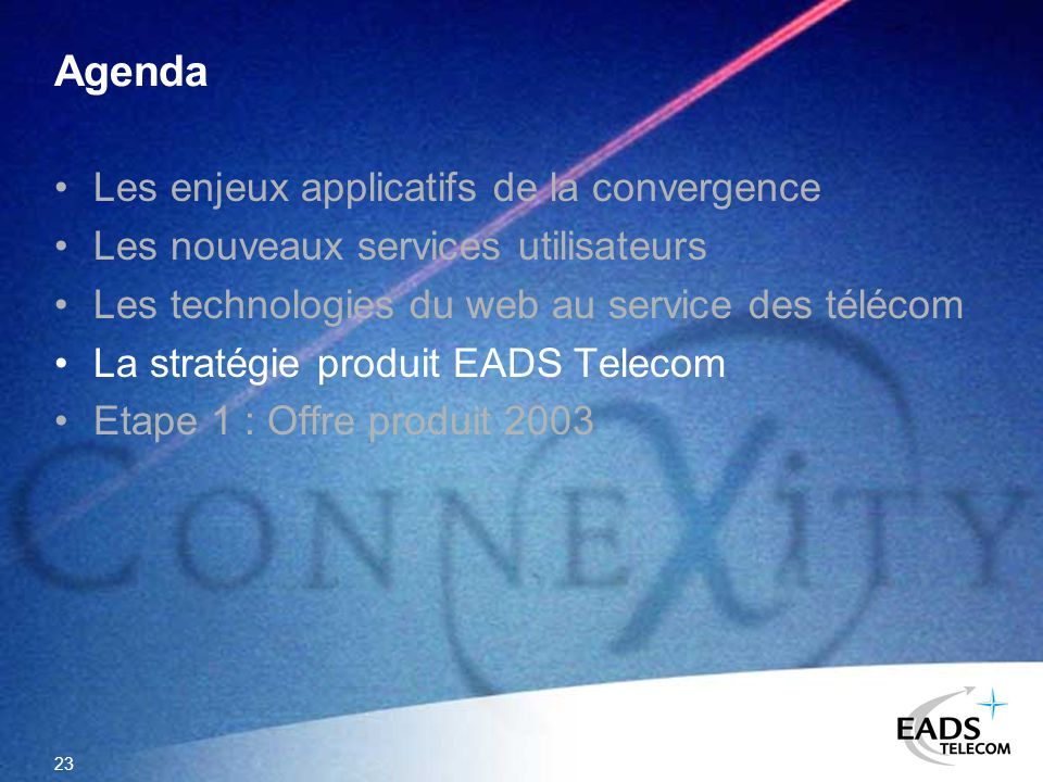 Agenda Les enjeux applicatifs de la convergence