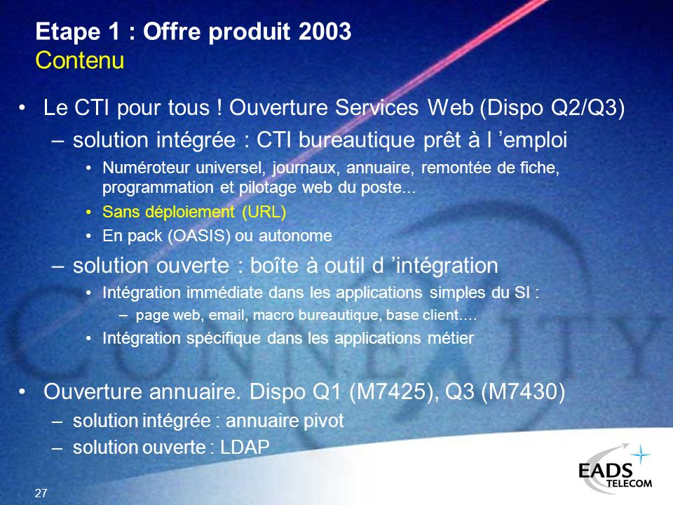 Etape 1 : Offre produit 2003 Contenu