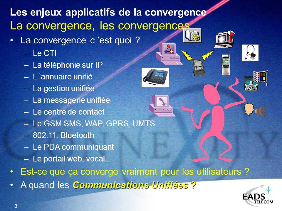 Les enjeux applicatifs de la convergence La convergence, les convergences