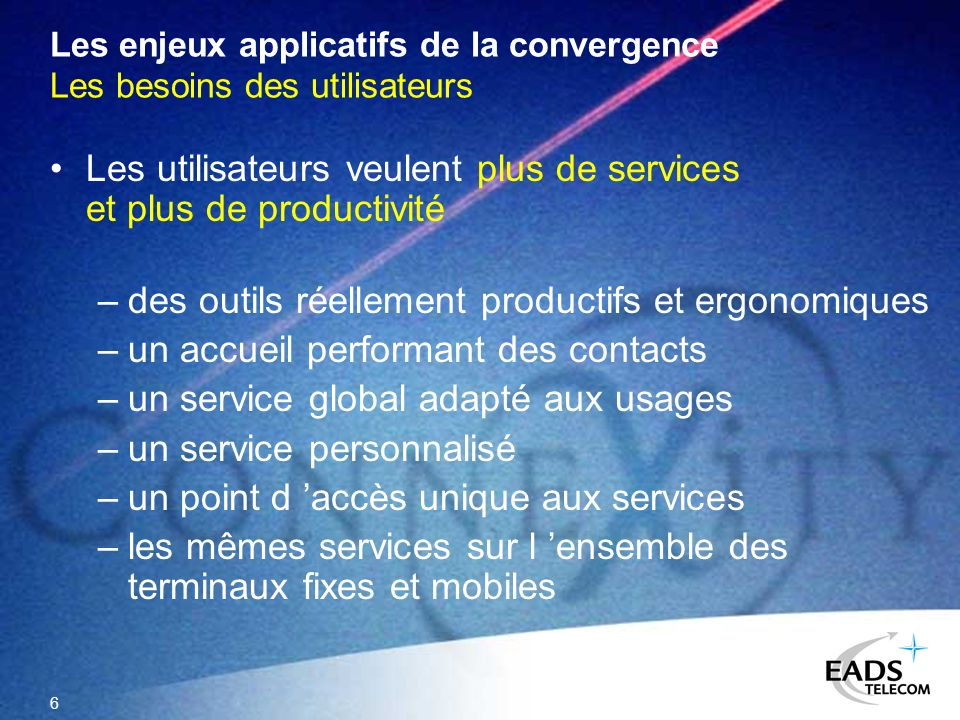 Les enjeux applicatifs de la convergence Les besoins des utilisateurs