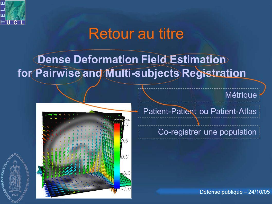 Retour au titre Dense Deformation Field Estimation for Pairwise and Multi-subjects Registration. Métrique.