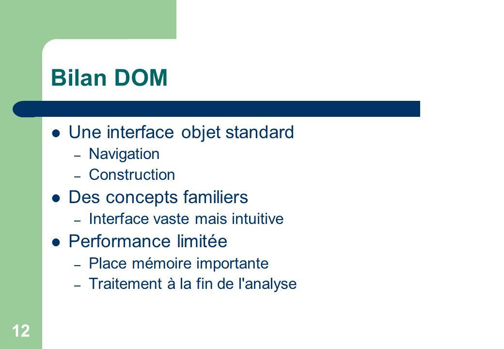 Bilan DOM Une interface objet standard Des concepts familiers