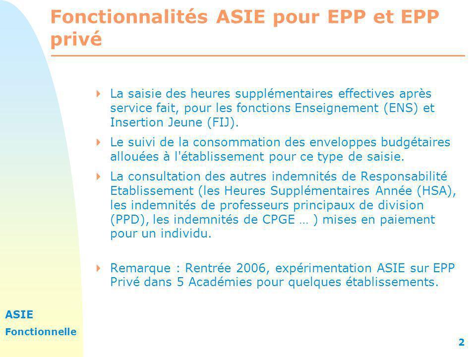 Fonctionnalités ASIE pour EPP et EPP privé