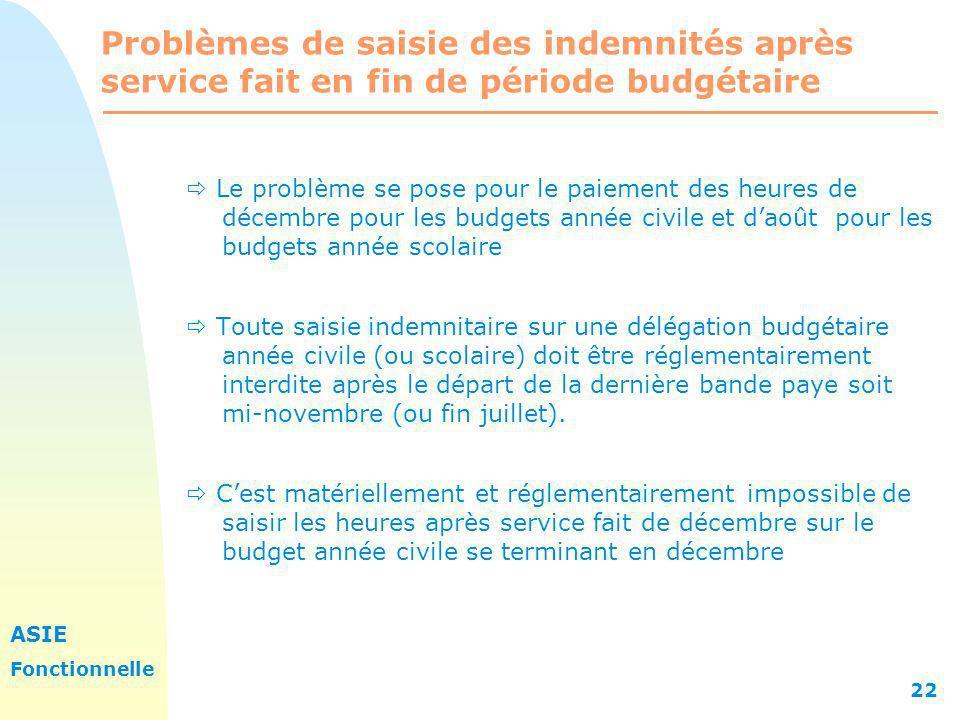 Problèmes de saisie des indemnités après service fait en fin de période budgétaire