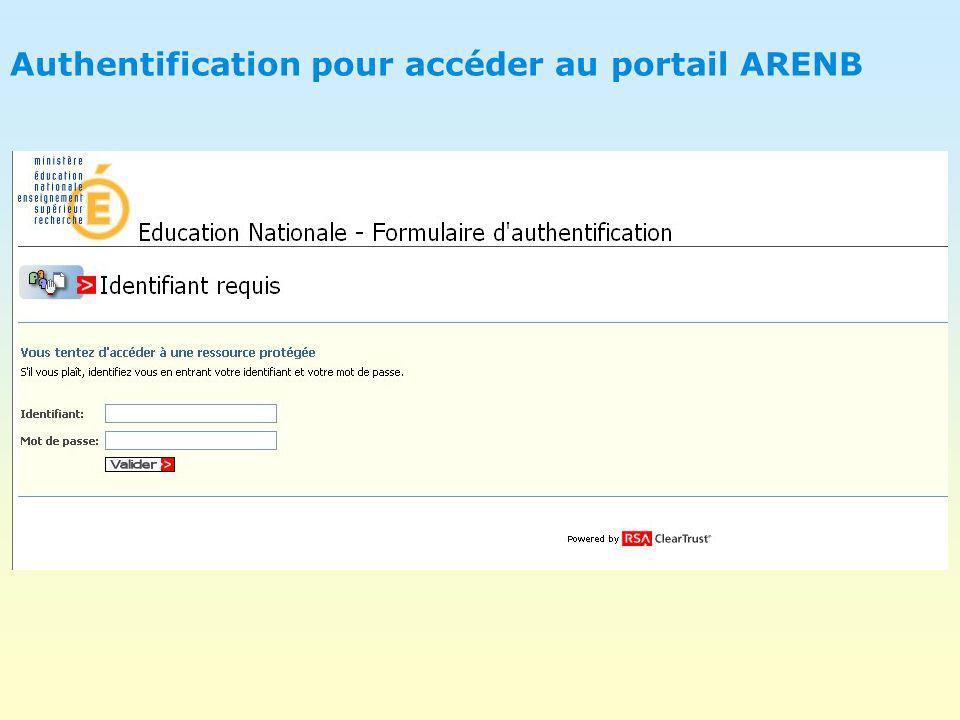 Authentification pour accéder au portail ARENB