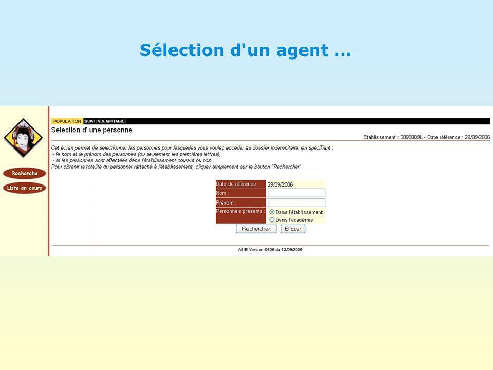Sélection d un agent …
