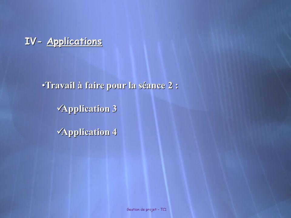 Travail à faire pour la séance 2 : Application 3 Application 4