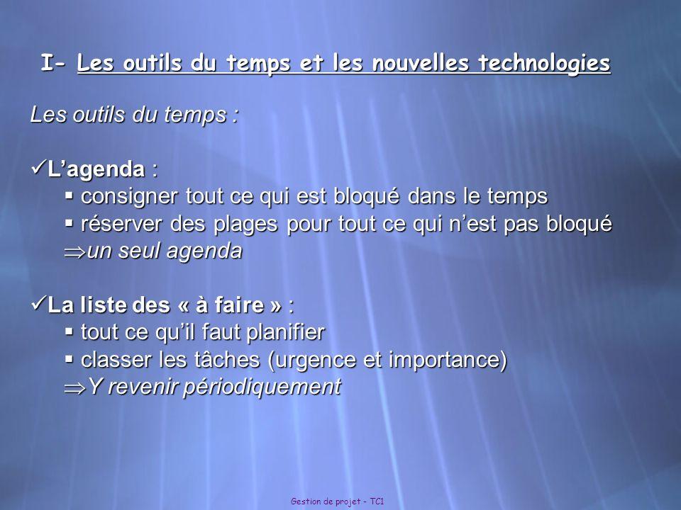 I- Les outils du temps et les nouvelles technologies