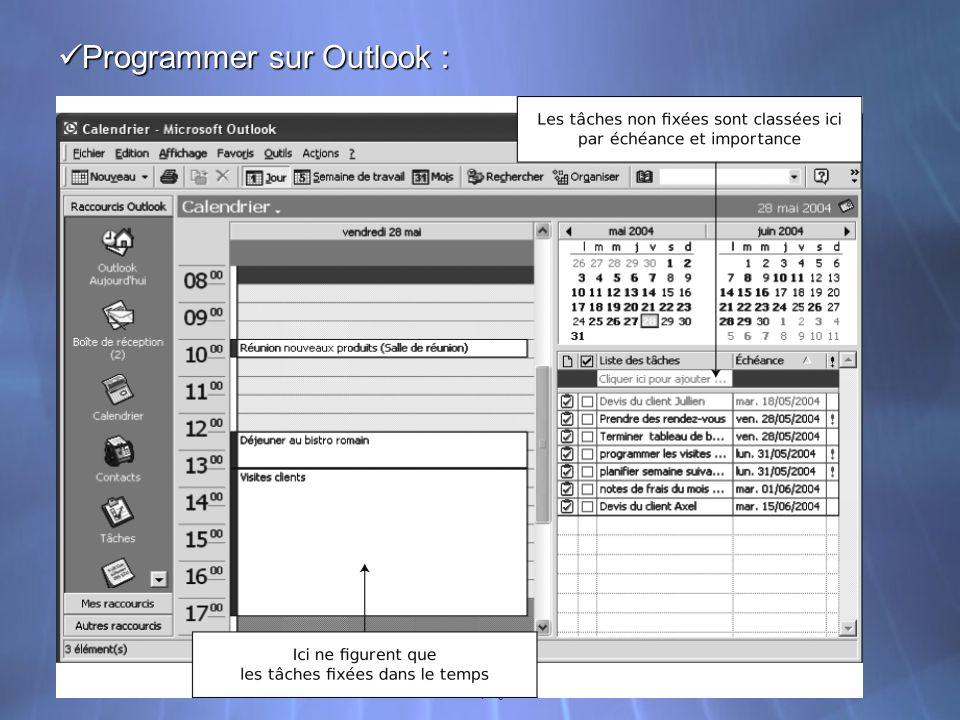 Programmer sur Outlook :