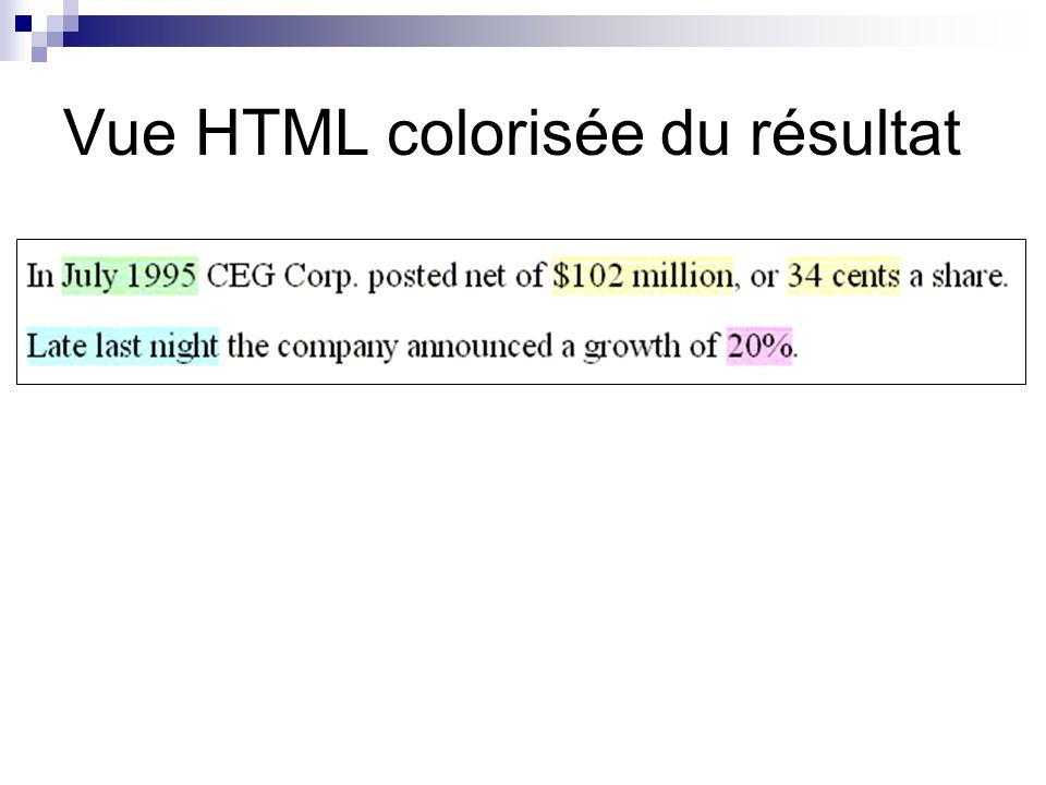 Vue HTML colorisée du résultat