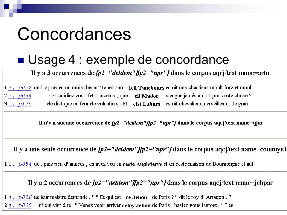 Concordances Usage 4 : exemple de concordance