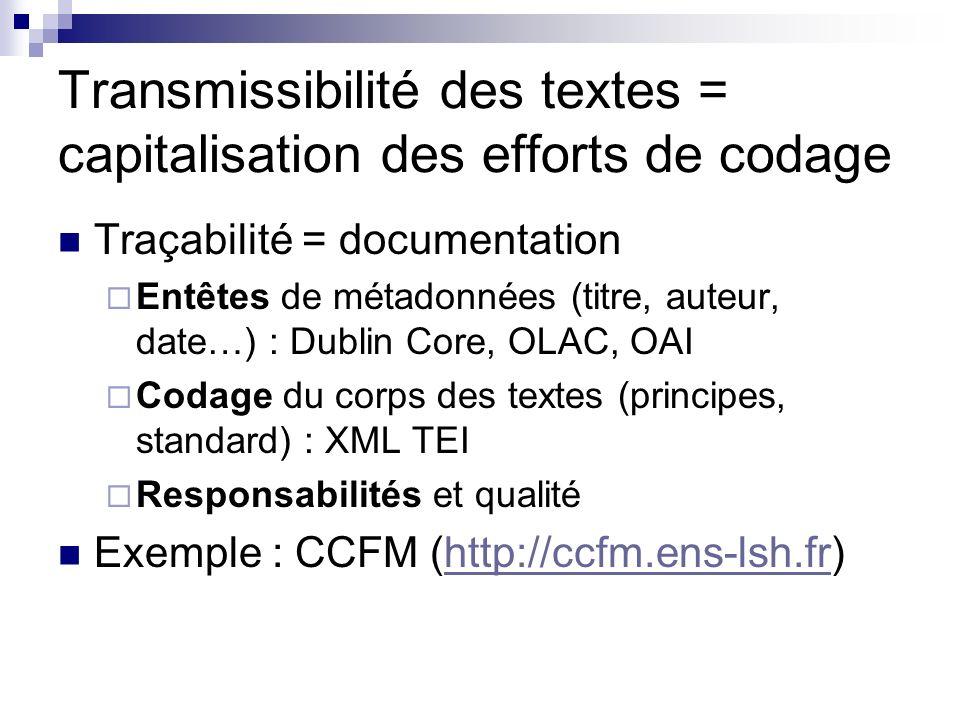 Transmissibilité des textes = capitalisation des efforts de codage