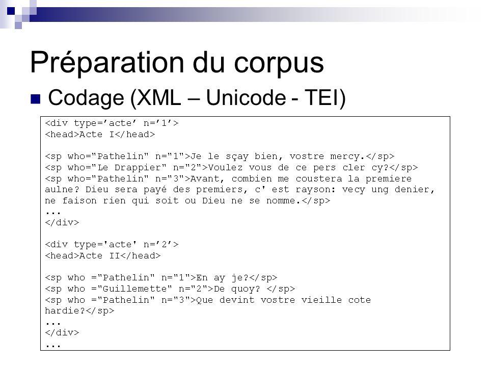 Préparation du corpus Codage (XML – Unicode - TEI)