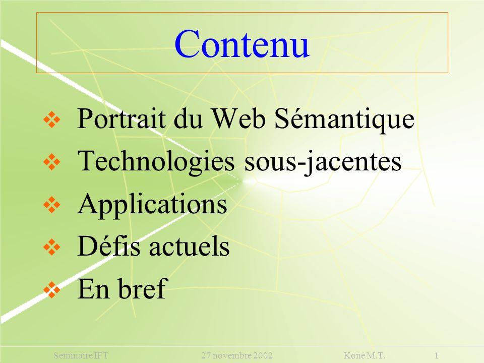 Contenu Portrait du Web Sémantique Technologies sous-jacentes