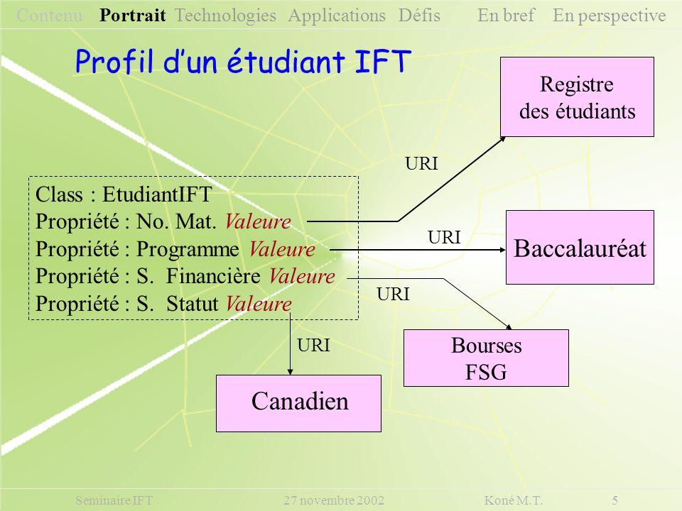 Profil d'un étudiant IFT