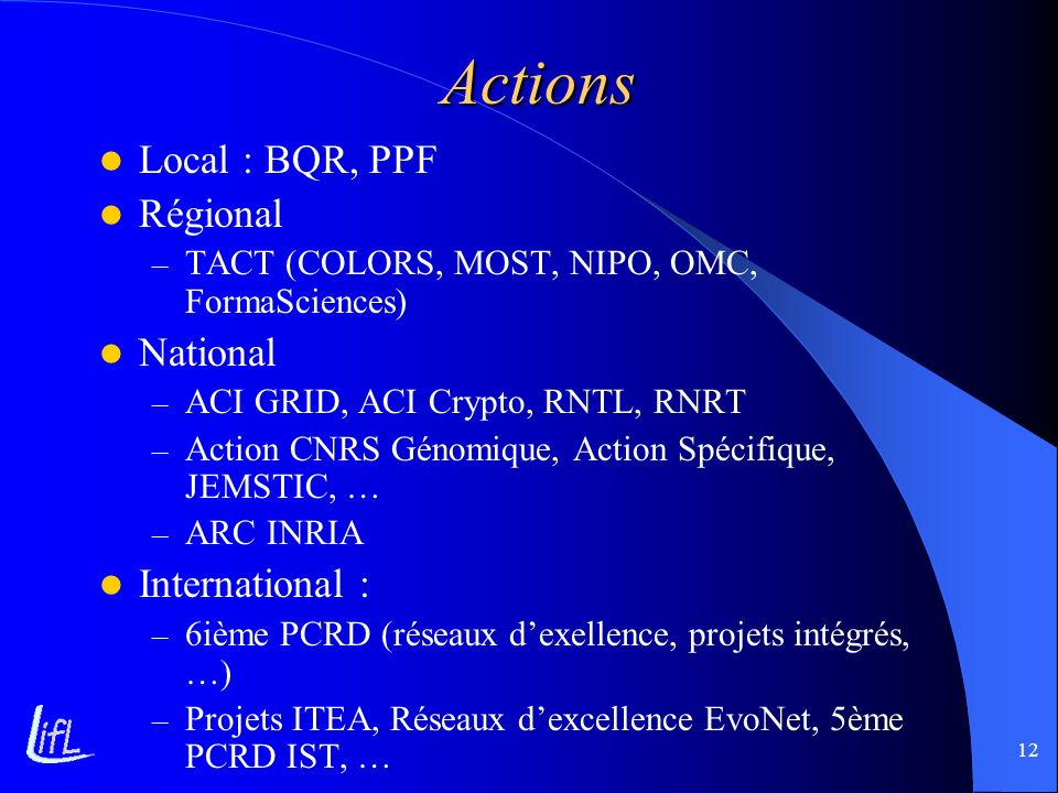 Actions Local : BQR, PPF Régional National International :