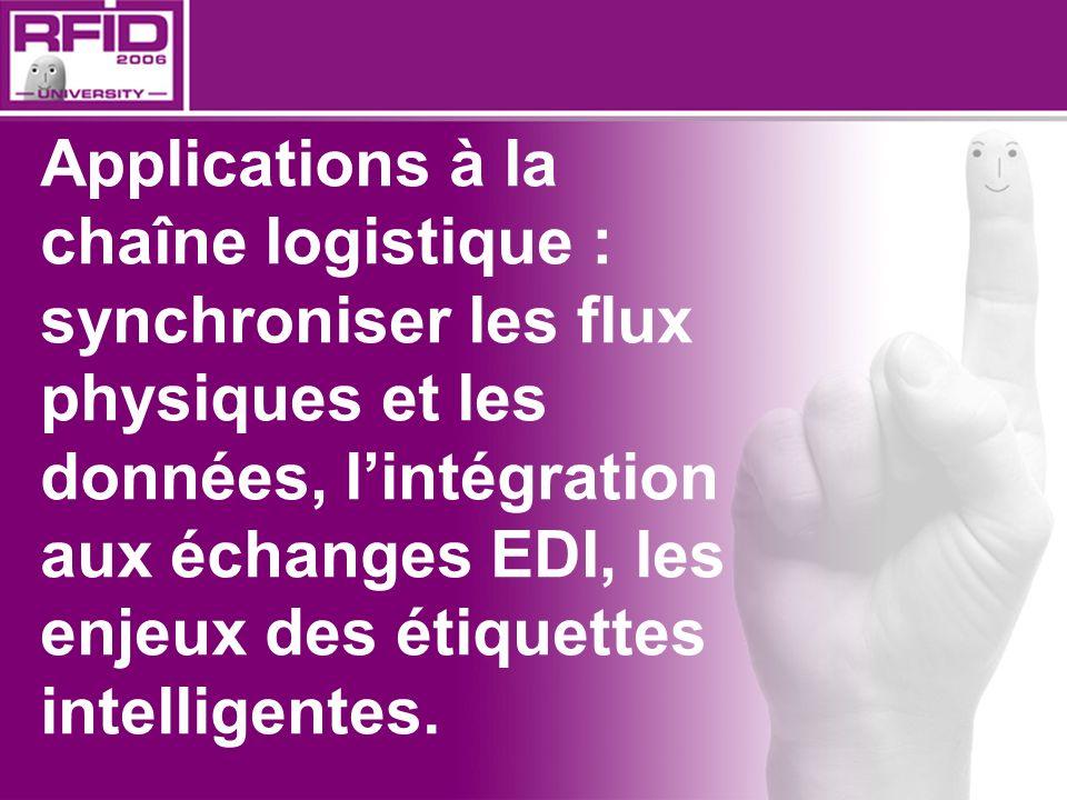 Applications à la chaîne logistique : synchroniser les flux physiques et les données, l'intégration aux échanges EDI, les enjeux des étiquettes intelligentes.