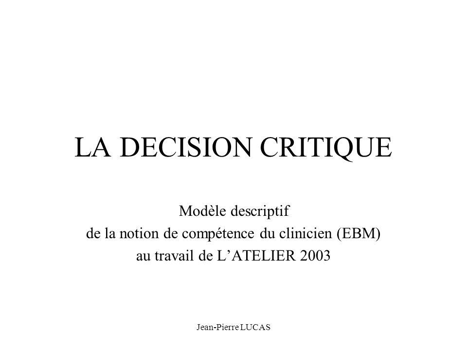 LA DECISION CRITIQUE Modèle descriptif