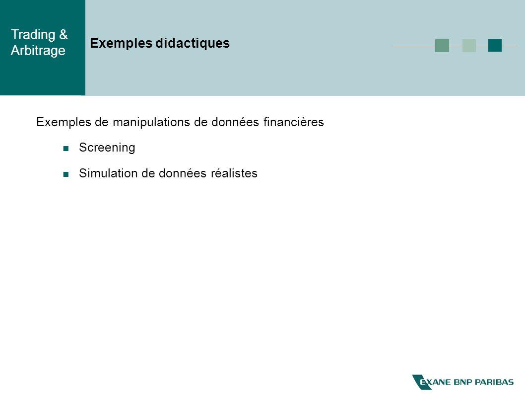 Exemples didactiques Exemples de manipulations de données financières