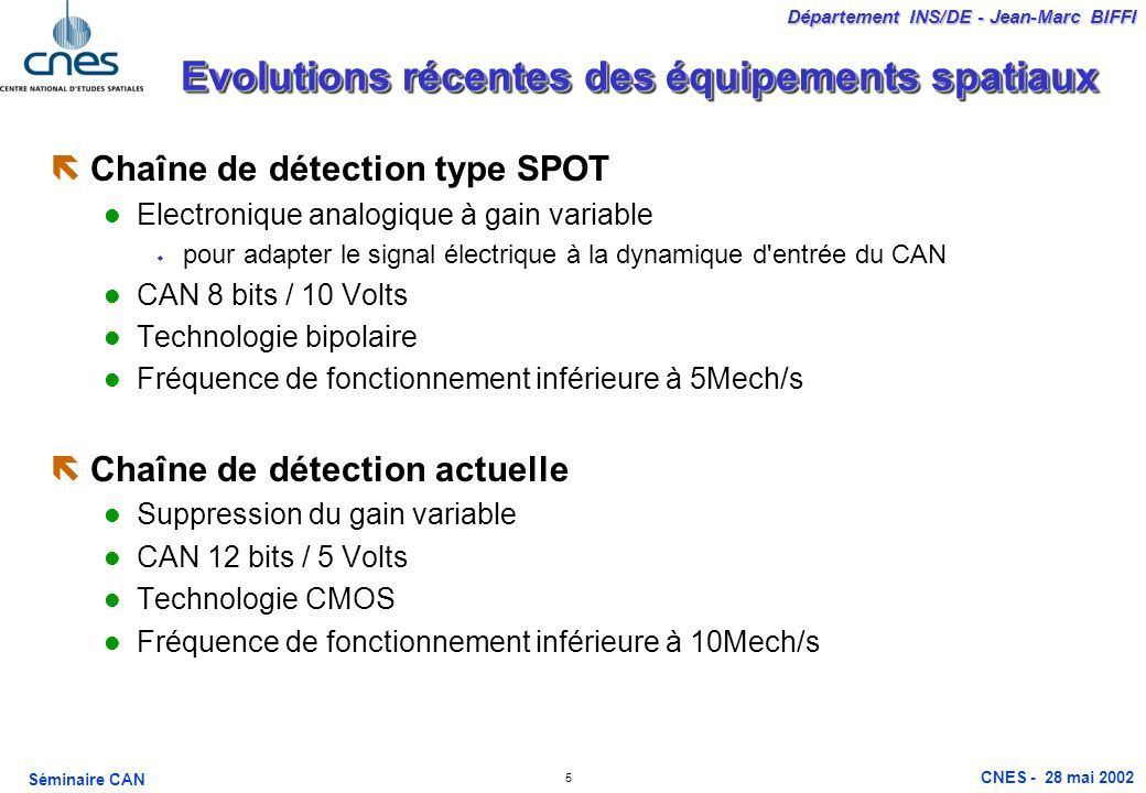 Evolutions récentes des équipements spatiaux