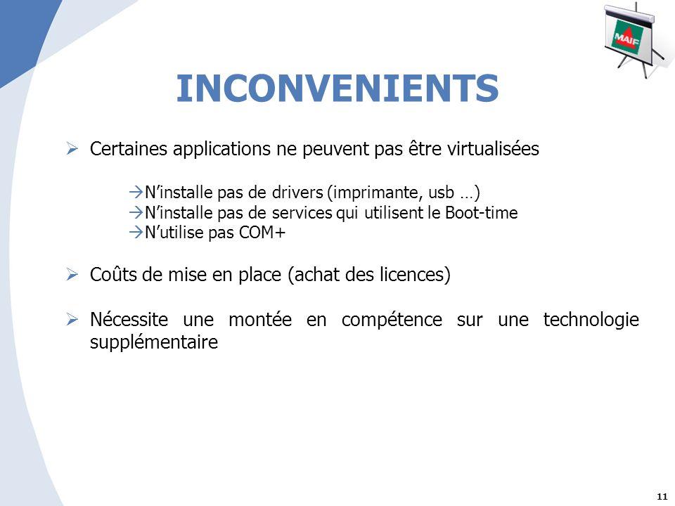INCONVENIENTS Certaines applications ne peuvent pas être virtualisées
