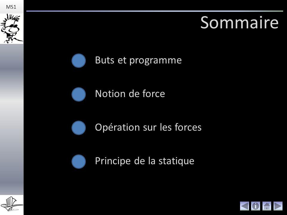Sommaire Buts et programme Notion de force Opération sur les forces